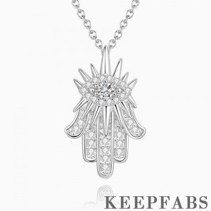 Hand of Fatima Pendant Necklace Platinum Plated