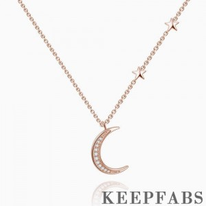 All Stars Towards Moon Necklace Rose Gold Plated Silver