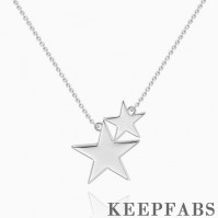 Double Stars Necklace Silver