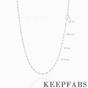 17.7in Twisted Chain Basic Necklace Silver - Length Adjustable
