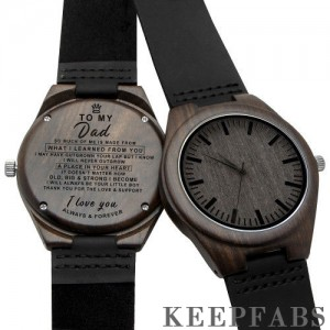 Black wooden watch to my dad