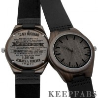 Black wooden watch to my husband