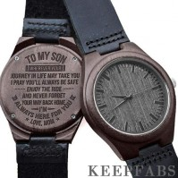 Black wooden watch mom to son