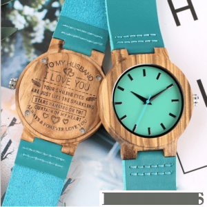 Blue Wooden Watch To My Husband