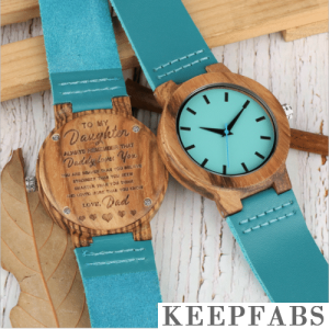 Blue Wooden Watch To My Daughter