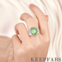 Finger Ring Watch, Flip Cover Watch with Carving Lace Green Unisex