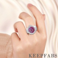 Finger Ring Watch, Flip Cover Watch with Snowflake Purple Unisex