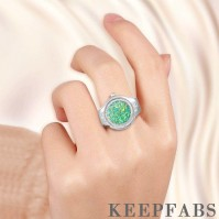 Finger Ring Watch, Flip Cover Watch with Snowflake Green Unisex