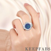 Finger Ring Watch, Flip Cover Watch with Snowflake Blue Unisex