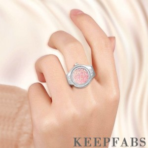 Finger Ring Watch, Flip Cover Watch with Snowflake Pink Unisex