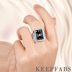 Finger Ring Watch, Square-shaped Quartz Fashion Watch Black Dial Unisex