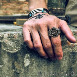Finger Ring Watch, Flip Cover Watch Pirate Black Bronze Unisex