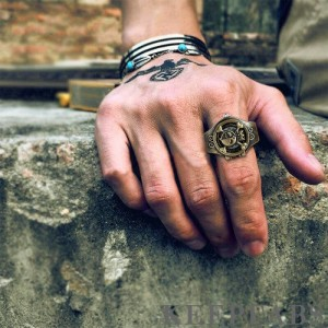 Finger Ring Watch, Flip Cover Watch Pirate Green Bronze Unisex