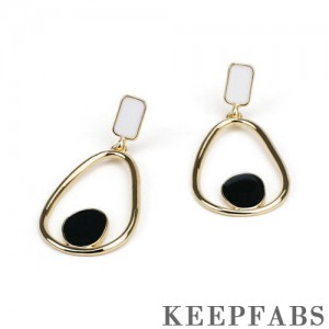 Black and White Drip Oil Craft Earrings 50mm