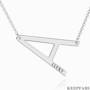 Engraved Alphabet A Initial Necklace Platinum Plated