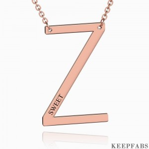 Engraved Alphabet Z Initial Necklace Rose Gold Plated Z901562723451