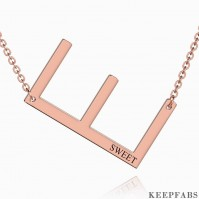 Engraved Alphabet E Initial Necklace Rose Gold Plated Z901562723755