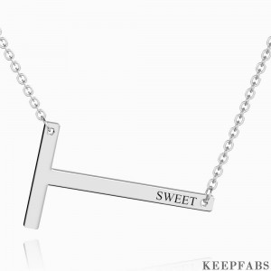 Engraved Alphabet T Initial Necklace Platinum Plated Z901562725850