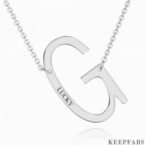 Engraved Alphabet G Initial Necklace Platinum Plated