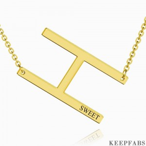 Engraved Alphabet H Initial Necklace 14k Gold Plated Z901562728477