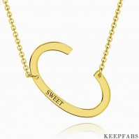 Engraved Alphabet C Initial Necklace 14k Gold Plated Z901562728744