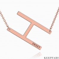 Engraved Alphabet H Initial Necklace Rose Gold Plated Z901562729750