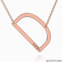 Engraved Alphabet D Initial Necklace Rose Gold Plated