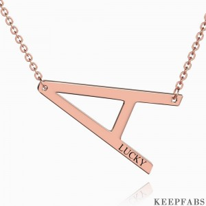 Engraved Alphabet A Initial Necklace Rose Gold Plated Z901562729959