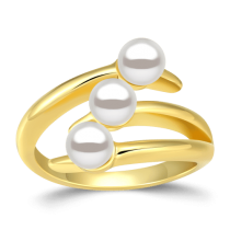Swarovski Pearl Line Design Ring 14K Gold Plated