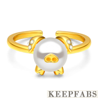 Pearl Pig Ring 14K Gold Plated Silver