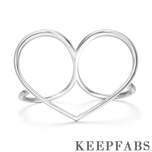 Heart Double Fingers Ring Silver