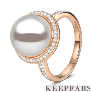 Pearl Promise Ring Rose Gold Plated Silver
