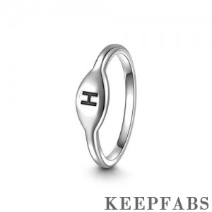 Keepfab Letter H Ring Silver