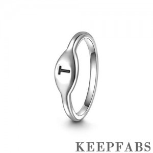 Keepfab Letter T Ring Silver