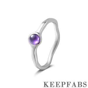 Silver Promise Ring with Purple Crystal