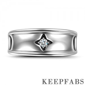 Four-angle Star Wedding Ring Silver