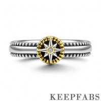 Compass Keepfab Ring 14k Gold Plated
