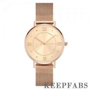 Mesh Bracelet Watch in Stainless Steel Rose Gold - Men's