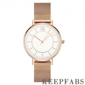 Mesh Bracelet Watch in Stainless Steel Rose Gold Strap and White Dial - Men's