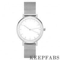 Mesh Bracelet Watch in Stainless Steel Silver Strap and White Dial - Men's