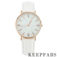 Fashion Marble Dial Watch White Leather Strap - Men's