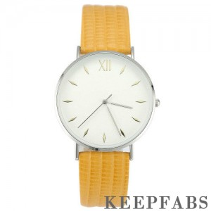 Simply Style Dial Watch Yellow Leather Strap - Men's