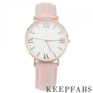 White Dial Watch Fashion Quartz Pink Leather Strap - Men's