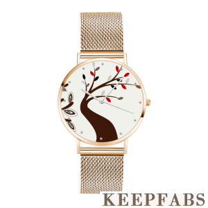 Unisex Tree Painting Dial Watch 40mm Rose Gold Plated