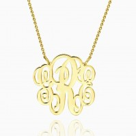 Fancy Monogram Necklace Gold Plated Silver Z901554343669