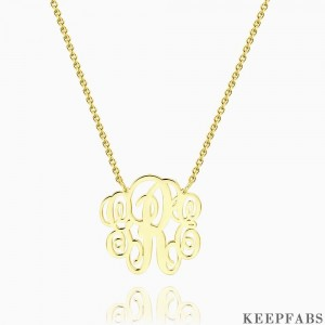 Large Fancy Monogram Necklace Gold Plated Silver Z901554343837