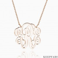 Small Fancy Monogram Necklace Rose Gold Plated Silver Z901554343927