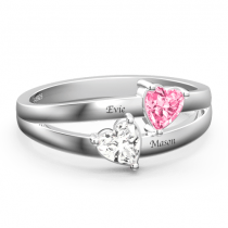 Personalized Birthstone with Engraving Promise Ring