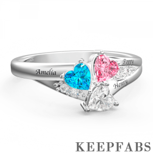 Personalized Heart Birthstone Mother's Ring with Engraving Silver