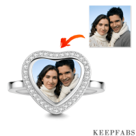 Pave CZ Heart Photo Ring with Silver